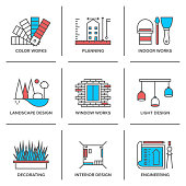 Interior and landscape design line icons set