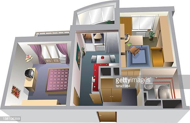 interior  apartment - blinds stock illustrations, clip art, cartoons, & icons