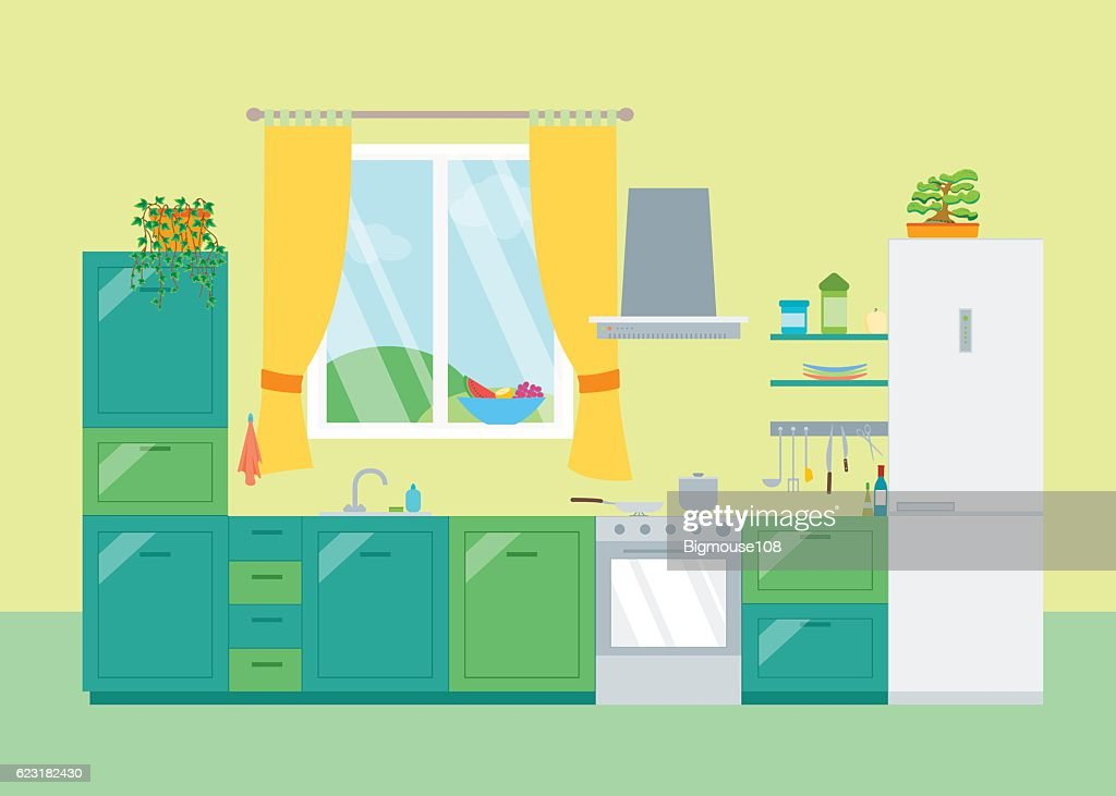 Interior Classic Kitchen with Furniture and Window. Vector