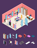 Interior Clothing Store and Parts Isometric View. Vector