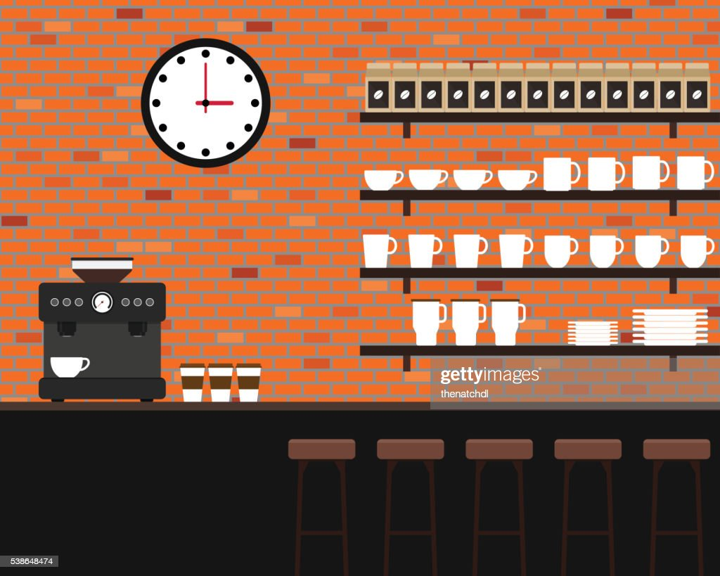 Interior coffee shop brick texture flat design vector illustration