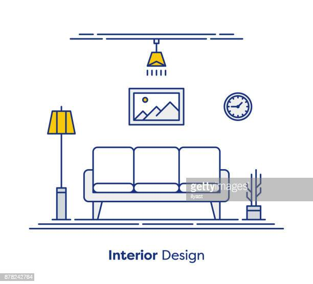 interior design concept - domestic room stock illustrations, clip art, cartoons, & icons