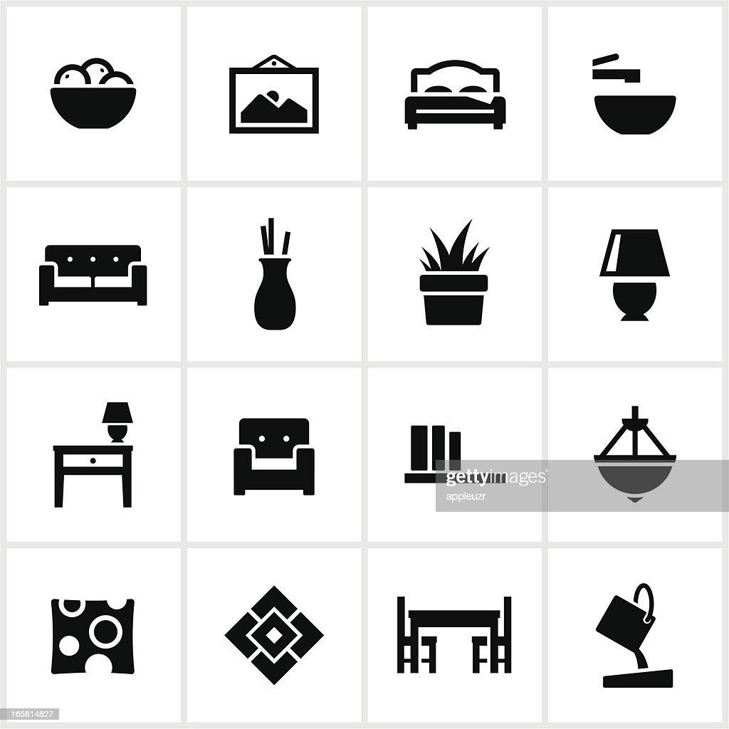 Interior Design Elements Icons Vector Art