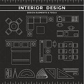 Interior Design Elements & Tools on Dark Background