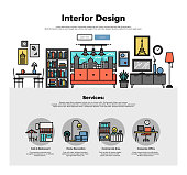 Interior design flat line web graphics