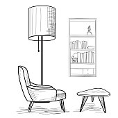 Interior design. Living room furiture: armchair, table, book-shelf