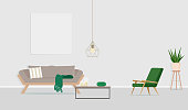 Interior design of the room with a gray sofa, an armchair and an empty poster on the wall. Vector flat illustration