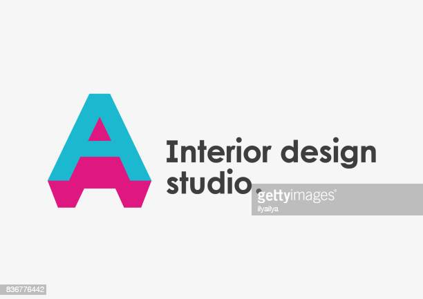 interior design studio emblem. letter a - letter a stock illustrations