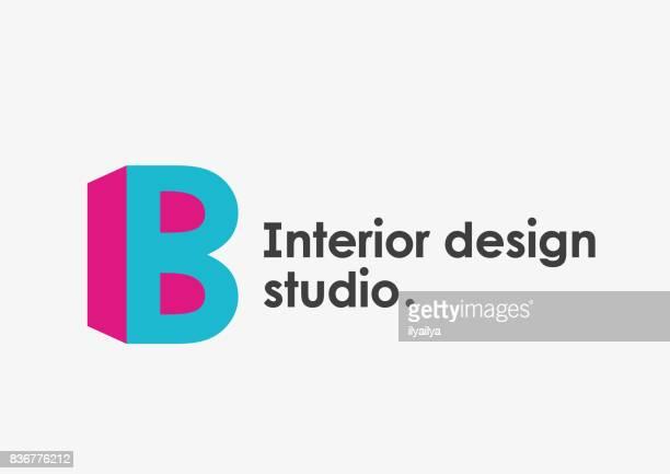 stockillustraties, clipart, cartoons en iconen met interieur design studio embleem. letter b - letter b