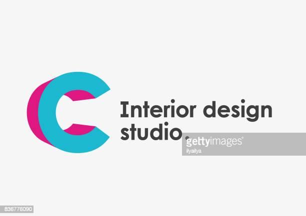 ilustrações de stock, clip art, desenhos animados e ícones de interior design studio emblem. letter c - letrac