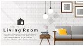 Interior design with Modern living room background , vector , illustration