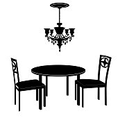 Interior furniture: chairs, table, chandelier. Dining room. Vintage luxury style.