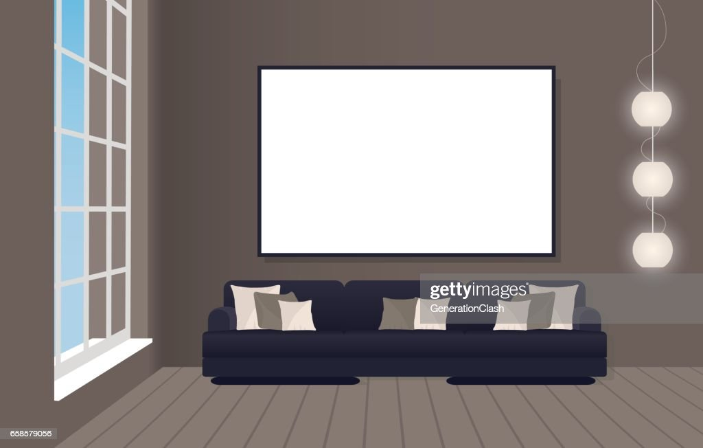 Interior mockup in loft style with sofa and empty frame. Hipster design concept.