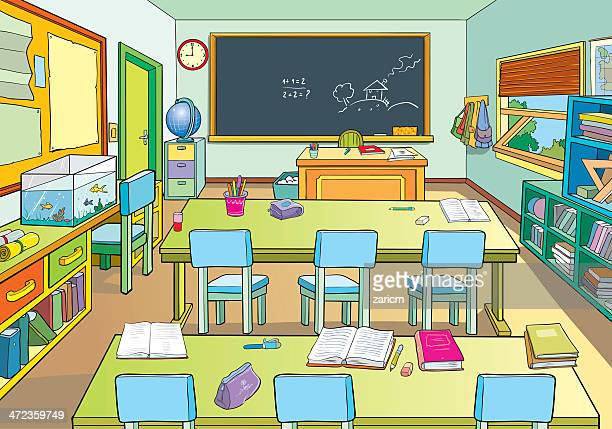 Classroom stock illustrations and cartoons getty images - Dessin classe ...