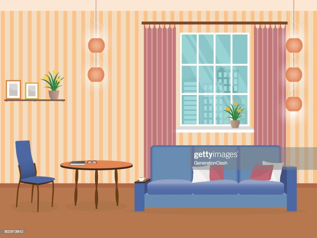 Interior of living room design in flat style with furniture, sofa, table, bookshelf and chair.