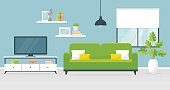 Interior of the living room. Vector banner.