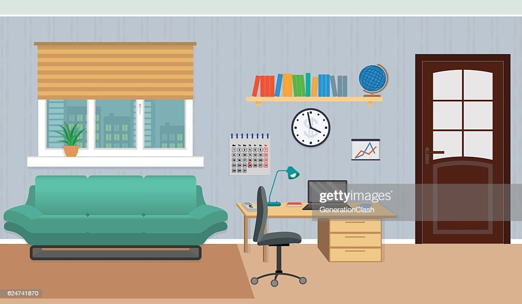 Interior of work cabinet at home including rest zone and
