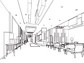 interior outline sketch drawing perspective of reception