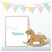 Interior poster mock up with empty frame and wooden rocking horse , vector , illustration