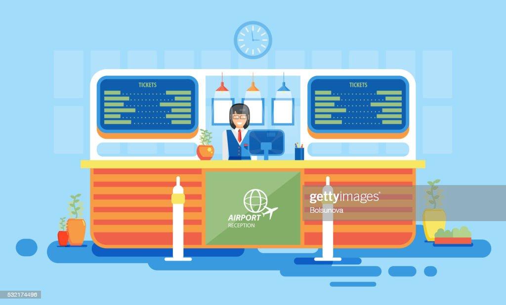 interior, reception, information desk, getting ticket, reception desk at airport
