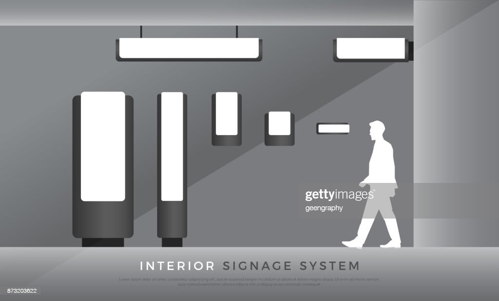 interior signage. direction, directory, room name signage system design template set. empty space for symbol, text, color corporate identity