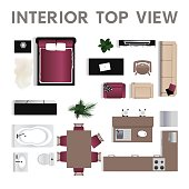 Interior top view Set of icons