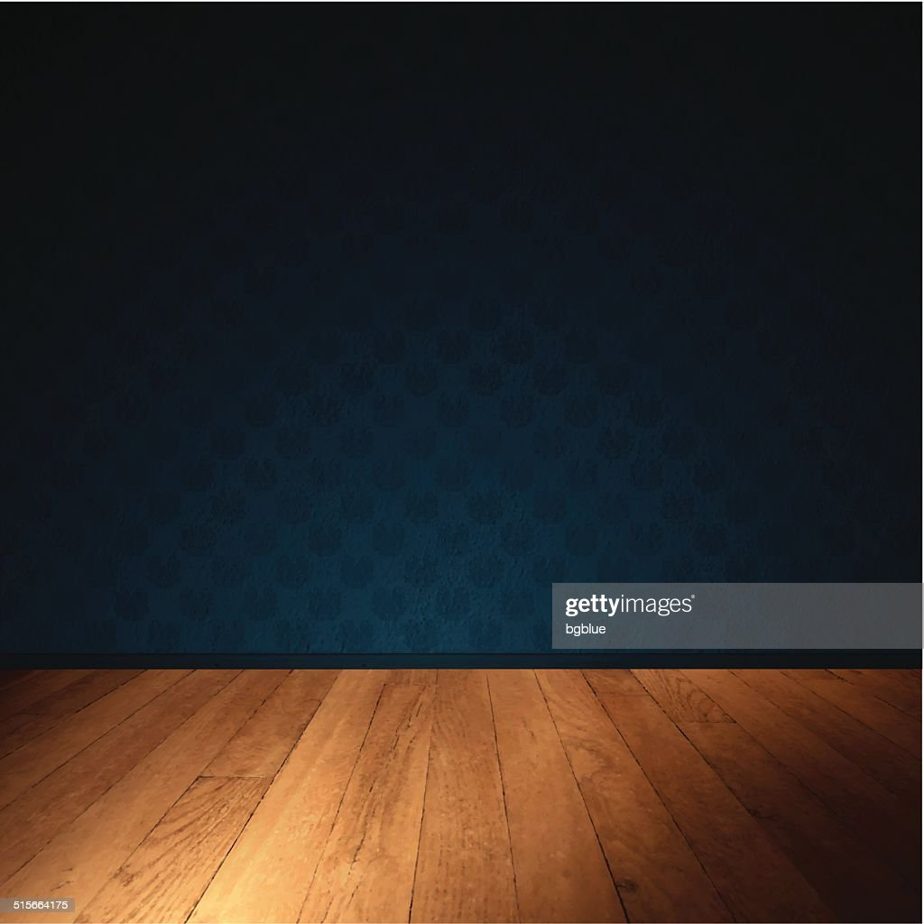 Interior Wall with Wooden Floor - Dimly Lit Room