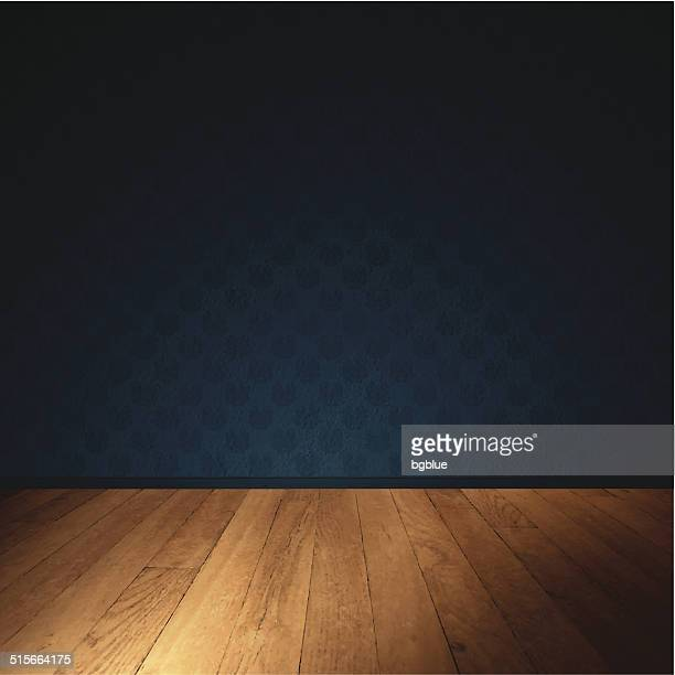 interior wall with wooden floor - dimly lit room - domestic room stock illustrations, clip art, cartoons, & icons
