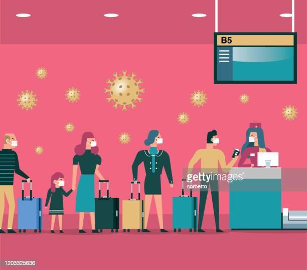 ilustraciones, imágenes clip art, dibujos animados e iconos de stock de contador de mostrador de facturación del aeropuerto internacional - epidemia