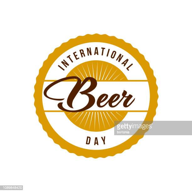 international beer day label - lager stock illustrations, clip art, cartoons, & icons