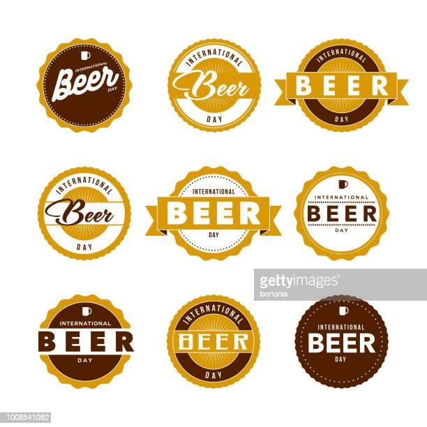 international beer day labels icon set - label stock illustrations