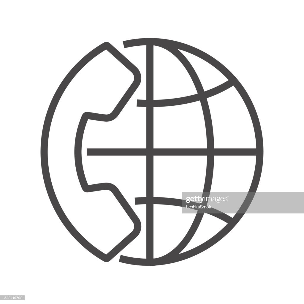 International Call Thin Line Vector Icon.