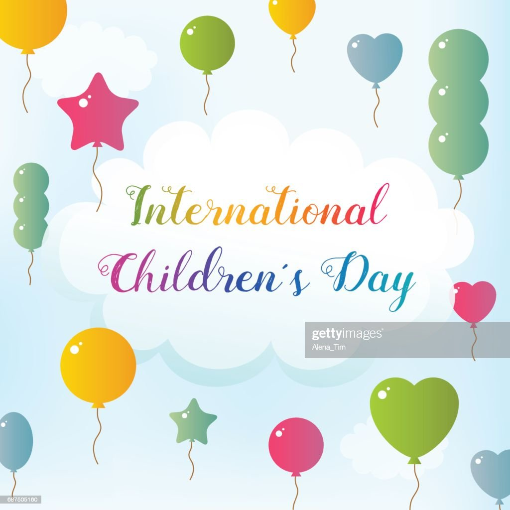 International Children's Day. Balloons fly to the sky. Text on the Cloud