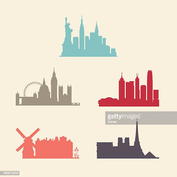 international city skylines - skyline stock illustrations