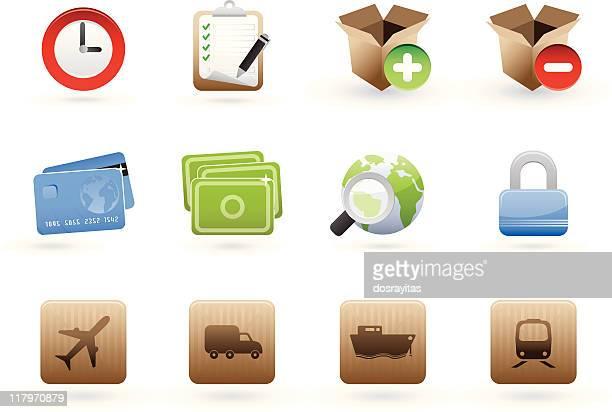international commerce icon set - rail freight stock illustrations, clip art, cartoons, & icons