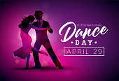 International Dance Day Vector Illustration with tango dancing couple on purple background. Design template for banner, flyer, invitation, brochure, poster or greeting card.