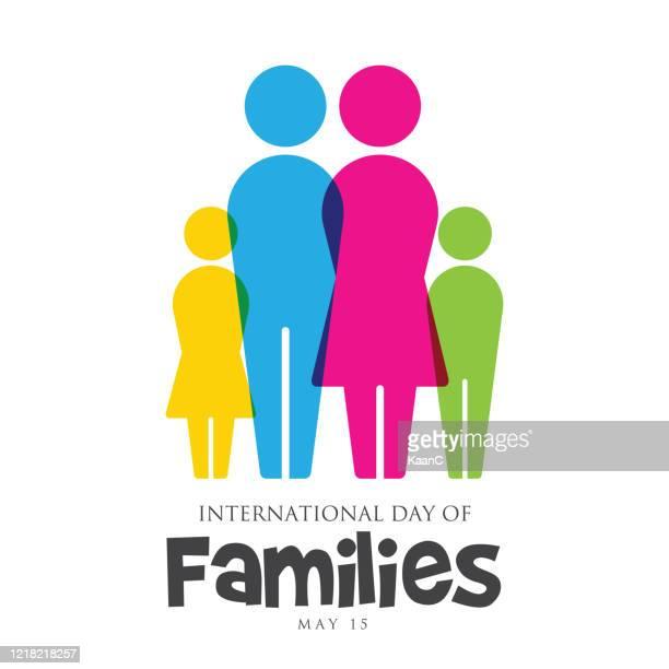 illustrazioni stock, clip art, cartoni animati e icone di tendenza di international day of families 15 may stock illustration - partita internazionale