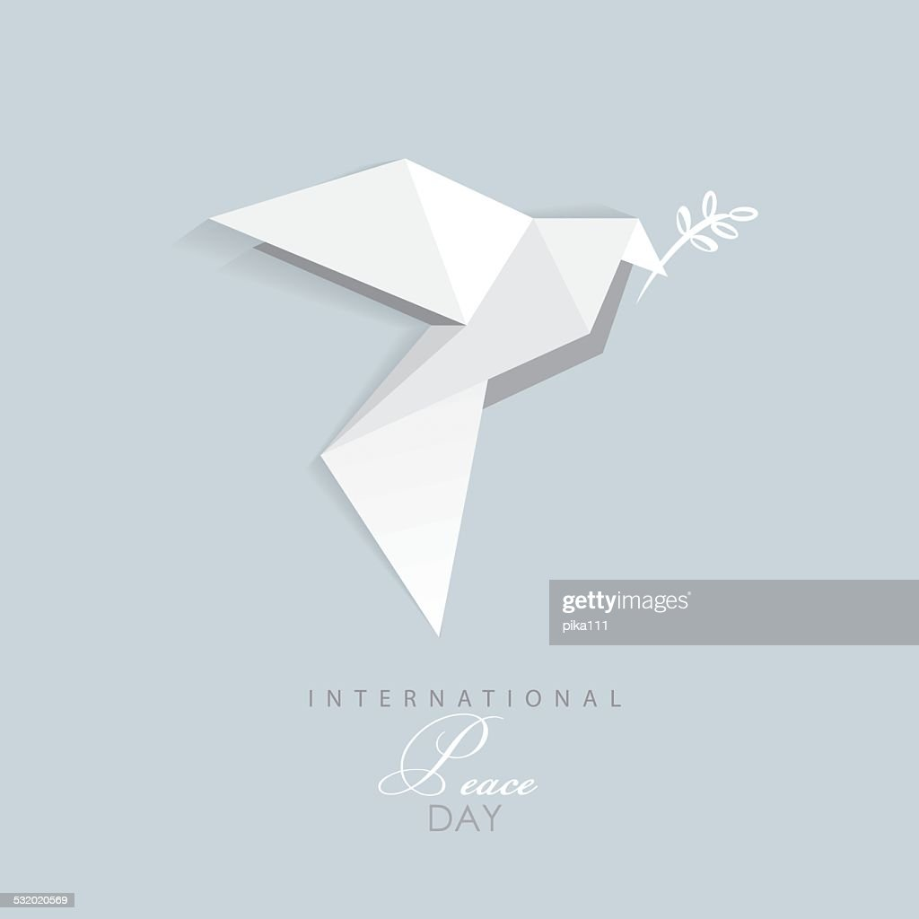 international day of peace- vector illustration of white origami dove