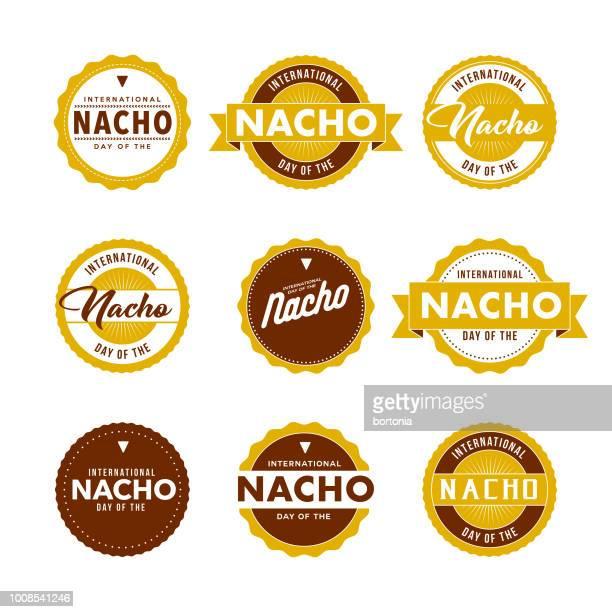 international day of the nacho labels icon set - nachos stock illustrations