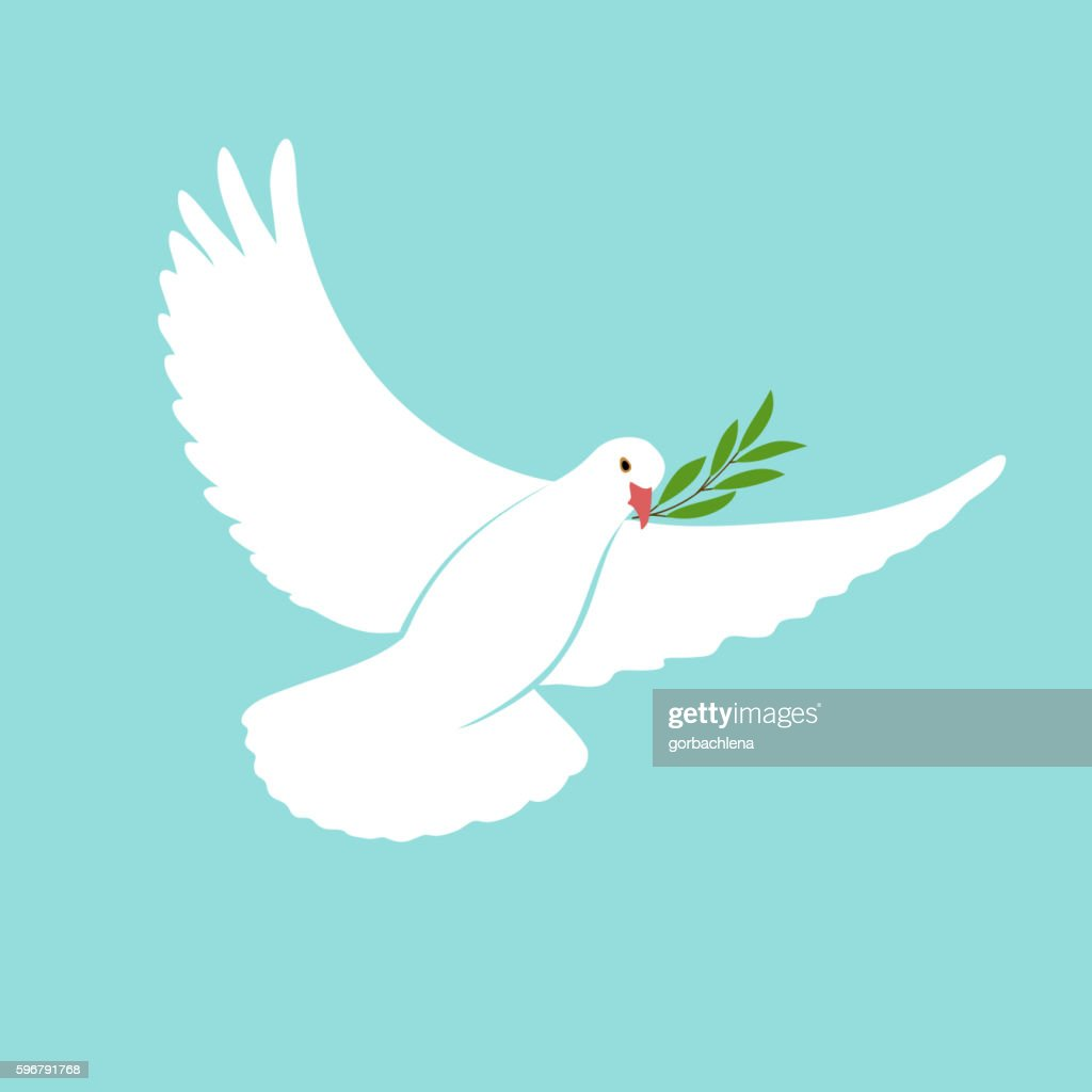 International Day Peace Template with white dove, olive, 21 september.