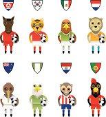 International Football / Soccer Mascot Animal Characters
