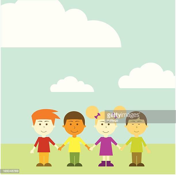 ilustraciones, imágenes clip art, dibujos animados e iconos de stock de international amigos - discriminacion