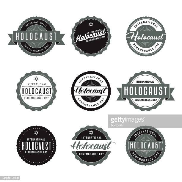 international holocaust remembrance day icon set - holocaust remembrance day stock illustrations