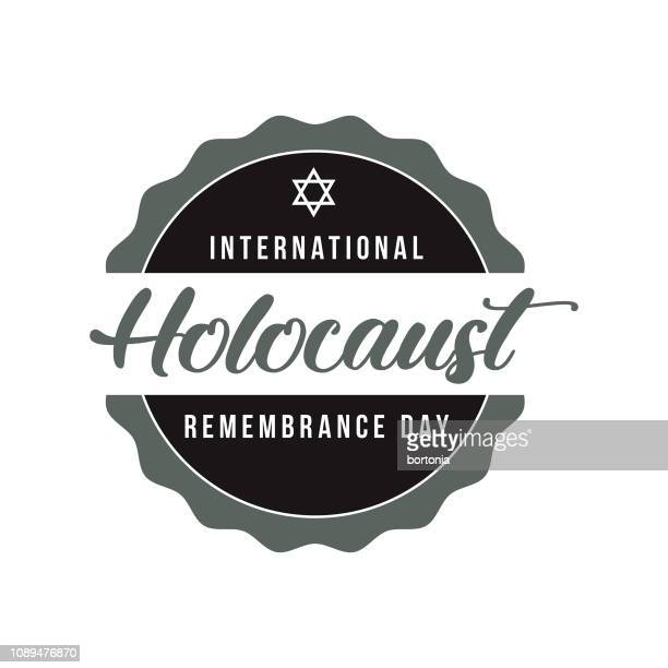 international holocaust remembrance day label - holocaust remembrance day stock illustrations