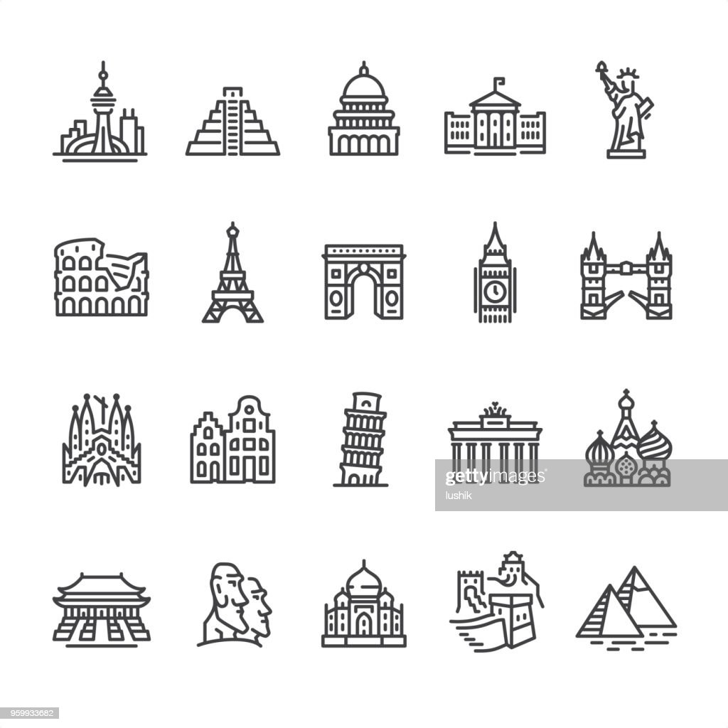 International Landmark and Famous Place - outline vector icons : Stock Illustration