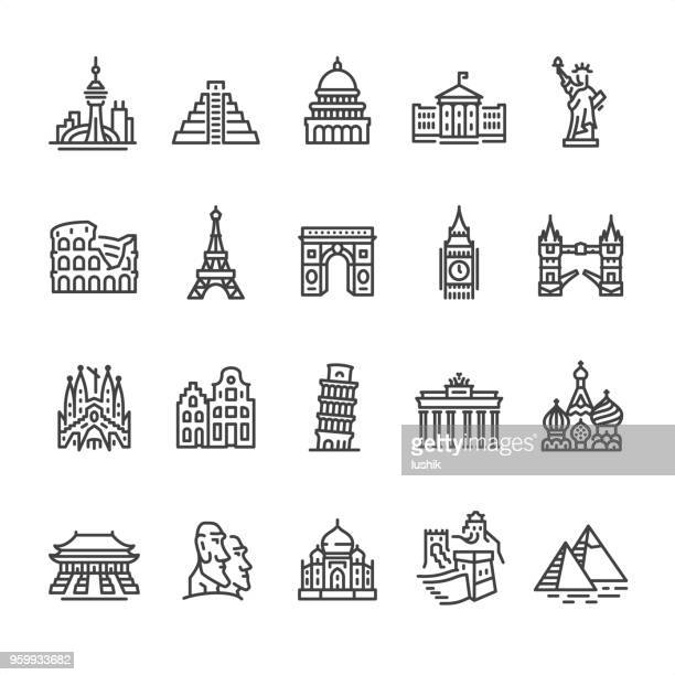 International Landmark and Famous Place - outline vector icons