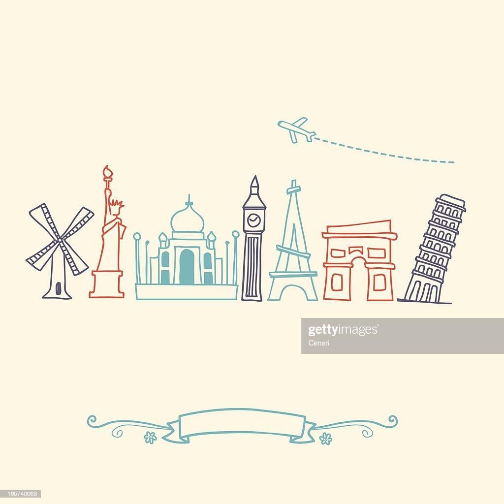 International landmarks and travel destinations cityscape set : Stock Illustration