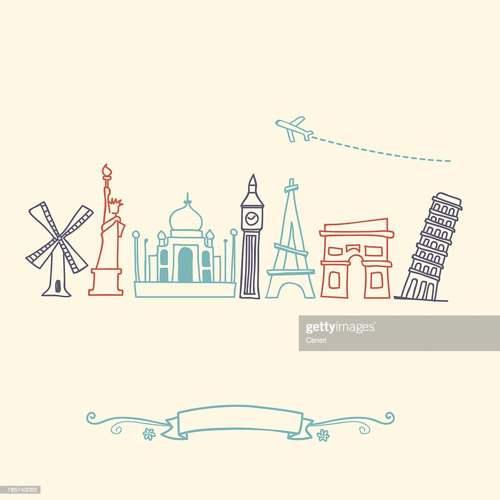 International landmarks and travel destinations cityscape set