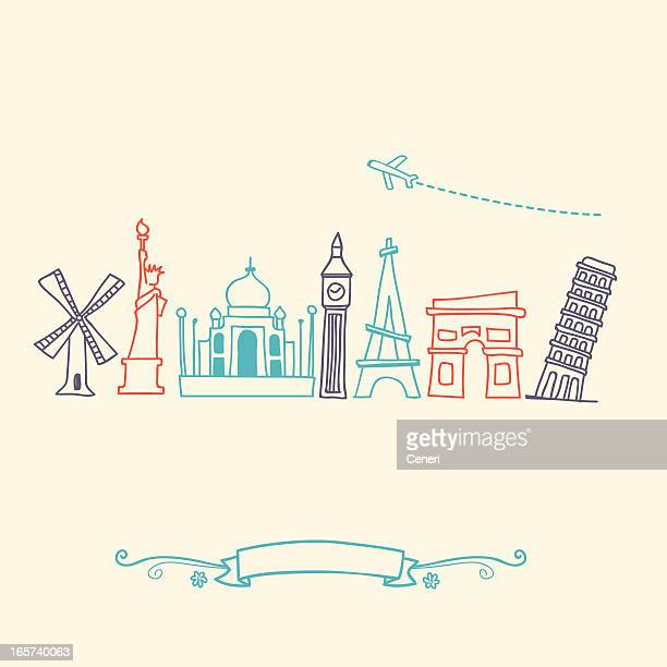 international landmarks and travel destinations cityscape set - leaning tower of pisa stock illustrations, clip art, cartoons, & icons