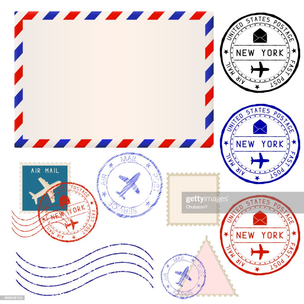 International mail envelope with collection of post stamps marked NEW YORK
